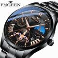 Мужские наручные часы FNGEEN  Стильные черные кварцевые наручные часы с Луной и звездой  деловые мужские часы  часы для мужчин  2020