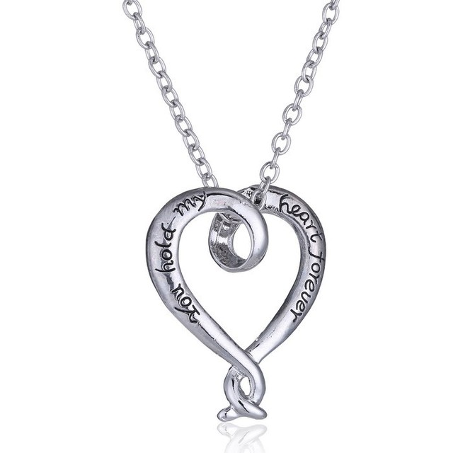 Custom name necklace you hold my heart forever eternal love custom name necklace you hold my heart forever eternal love necklace silver heart pendant aloadofball Gallery