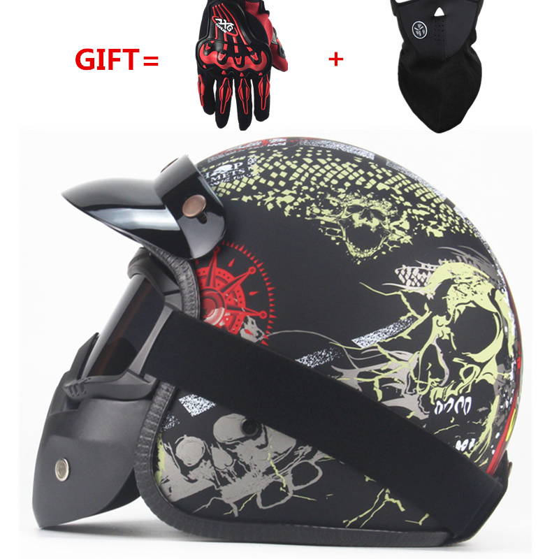 Vintage 3/4 Pelle Harley Caschi moto rcycle Casco aperto del fronte Chopper Bike casco moto rcycle casco moto moto cros con visiera