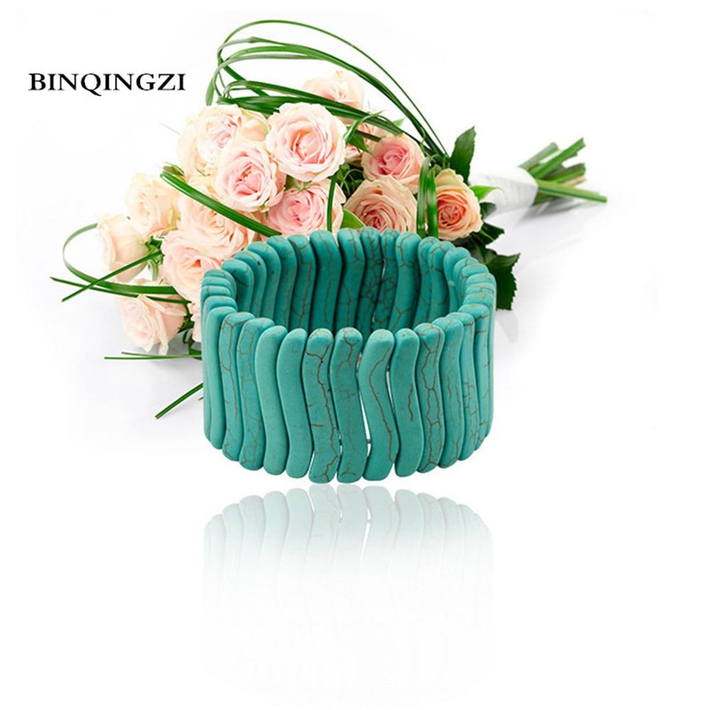 Blue Beads stone Howlite stretch bracelet snap jewelry adjustable Elastic rope couple bracelet 2018