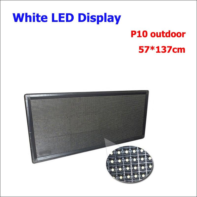 Couleur blanche extérieure 57x137 cm P10 blanc LED panneau d'affichage de haute qualité LED défilement affichage pour la publicité extérieure étanche