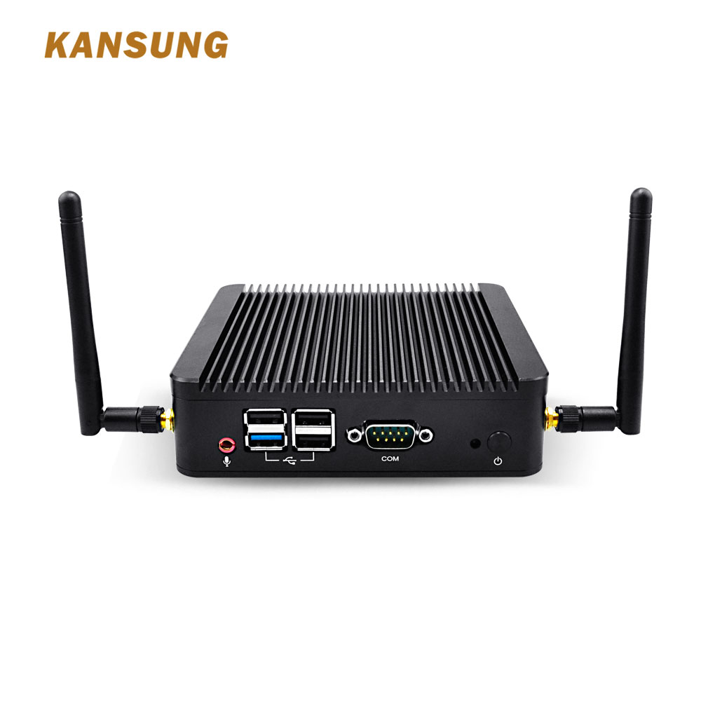 KANSUNG Fanless Mini PC K190S Intel BayTrail J1900 Processor Quad Core 2.0 GHz Dual LAN Mini PC Linux Ubuntu Barebone System PC