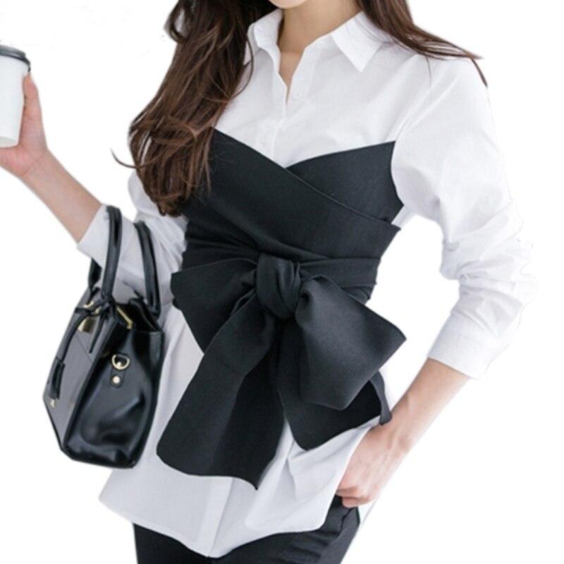 bb35fae23d 2019 Autunno Coreano Tie Shirt Camicetta Femminile Fiocco Nero A ...