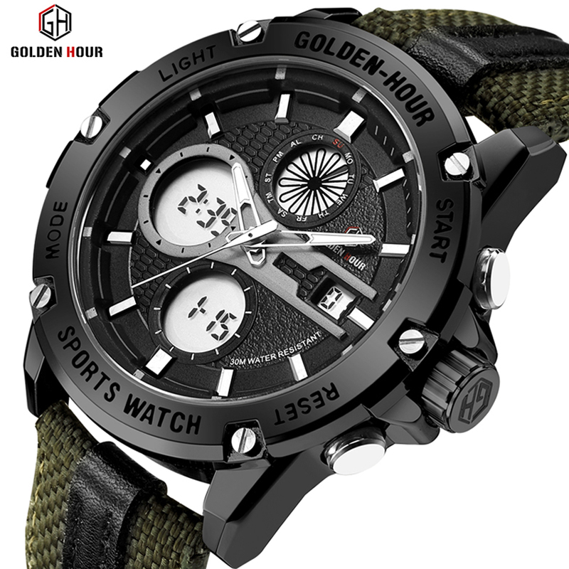 GOLDENHOUR Watch Men Sport Digital Analog Waterproof LED Display Luminous Fashion Watch Nylon Strap Army Wrist Watch Male Clock goldenhour sport double display men wristwatch fashion casual men quartz watch led week display army alloy strap male clock