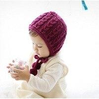 1Pcs Baby Hat Bonnet Autumn Winter Handmade Wool Ear Knitting Hats Newborn Baby Fashion Warmer Caps