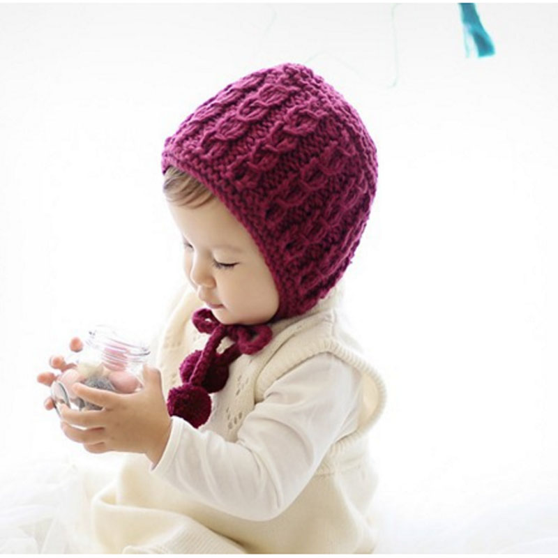 1Pcs Baby Hat Bonnet Autumn Winter Handmade Wool Ear Knitting Hats Newborn Baby Fashion Warmer Caps Kids Hats BB0166 bomhcs funny wigs beard handmade knitting hats wanderers cap helloween party gifts