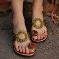 Flor do vintage-que cobre dos pés chinelos sapatos sapatas das mulheres do couro cunhas casuais chinelos recorte tendência nacional frete grátis 383-9