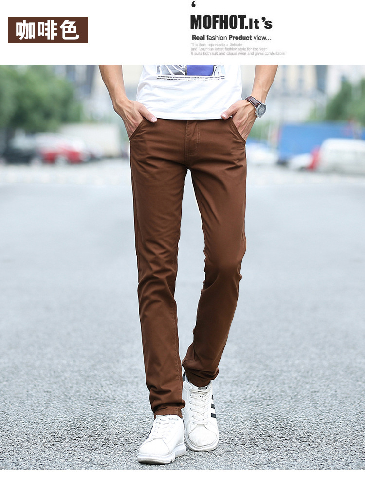 Business Casual Pants 11 Colors New Casual Pencil Pants Men Slim Pant Straight Trousers Solid Leisure Zipper Spring Summer k919 41