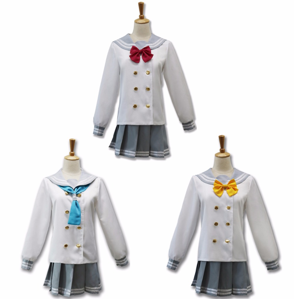 Love Live Sunshine Aqours Kurosawa Dia Takami Chika School Uniform Cosplay Costume Full Set Sailor Suit Halloween Costumes