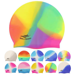 e1c14d1c950 Pool Swimming Cap for Adults Swimwear Hats Women Men Ladies Rainbow  Colorful Waterproof