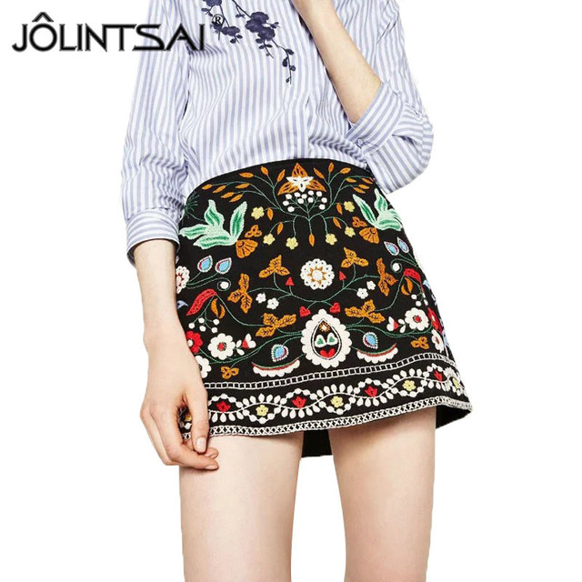 Bohemian Embroidered Corduroy A-Line Mini Ethnic Women Skirts 2017 Black Short Design High Waist Floral Vintage Skirts Female