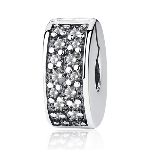 925 Sterling Silver Clear CZ Spacer Clip Beads Charms Fit Original Pandora Bracelets Shining Elegance DIY Jewelry Making