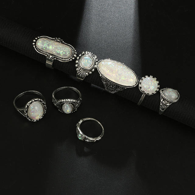Tocona Vintage Antique Silver Color Rings Sets Colorful Opal Crystal Stone Carve for Women Men Bohemian Jewelry Anillos 6421 5