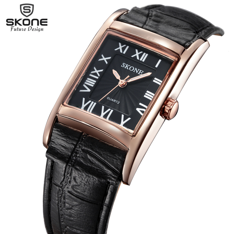 Roman Number Square Dial SKONE Brand Watches Women Luxury Top Quality Fashion Casual Quartz Watch Leather