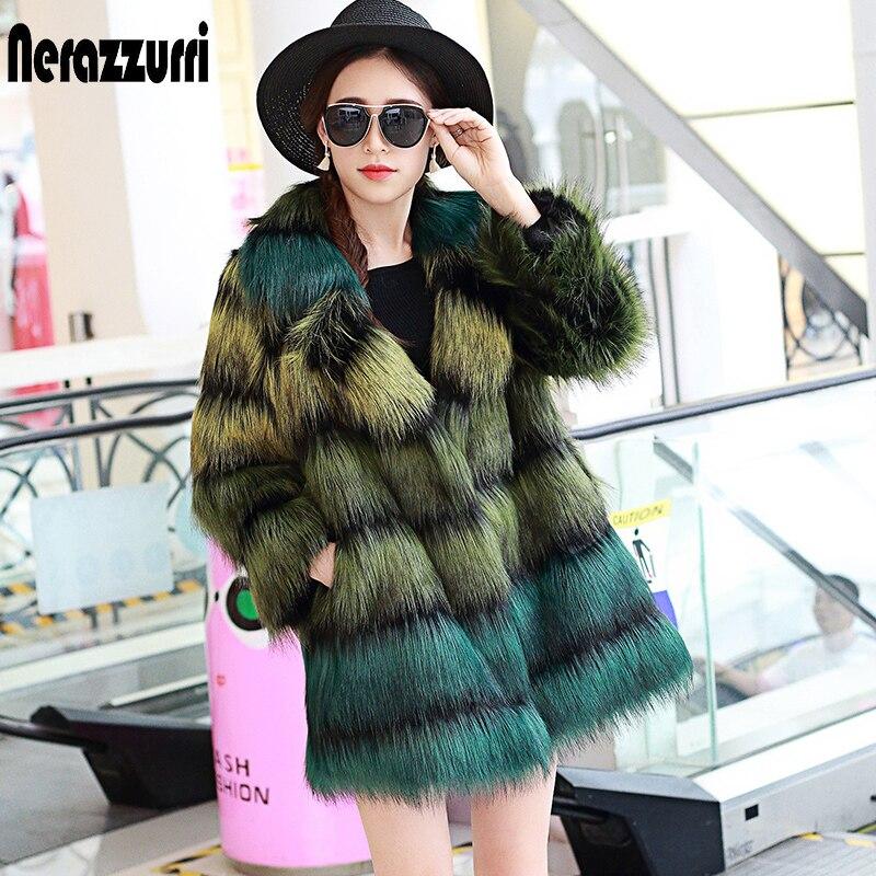 Nerazzurri пальто из искусственного меха женское пушистое роскошное градиентное красочное пальто из искусственного лисьего меха Верхняя одежда размера плюс 5xl 6xl 7xl