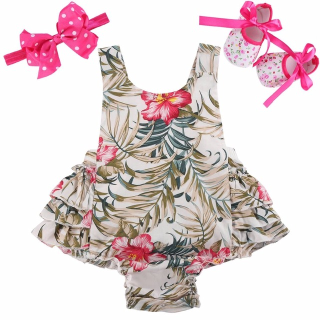 17dca2ff35eb 3 PCS Baby Girl Clothing Set Baby girls Vintage Floral Toddler Girl Rompers  Onesie Baby Jumpsuit With Bow Headband Shoes Set