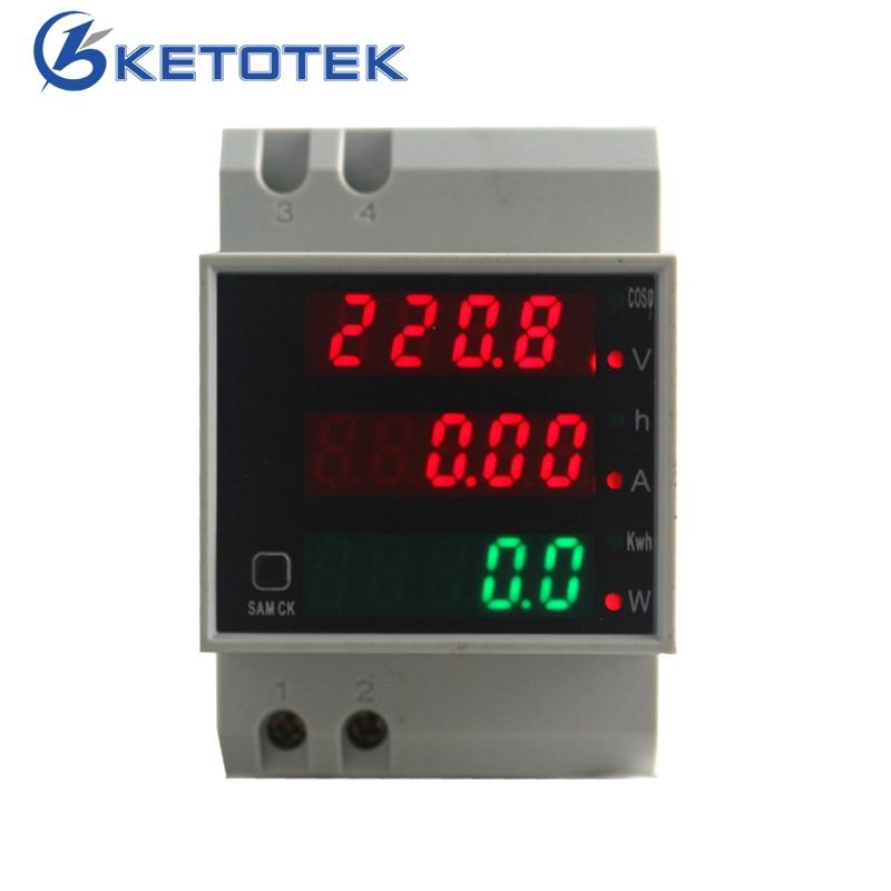 AC 80-300 v 0-100.0A Su Guida Din LED Voltmetro Amperometro Rosso Blu del Display Tensione contatore di Energia Attiva del Fattore di Potenza volt Misuratore di Corrente