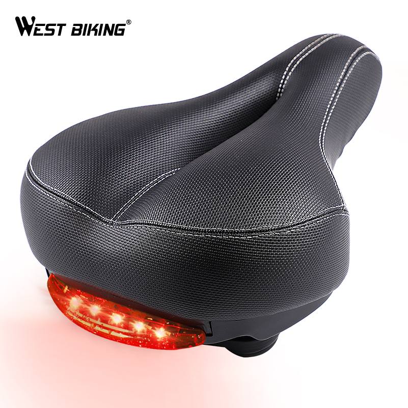 WEST BIKING Wide Bicycle Saddle with Taillight Soft Sponge Cushion Hollow Thicken Cycling Ciclismo Seat MTB