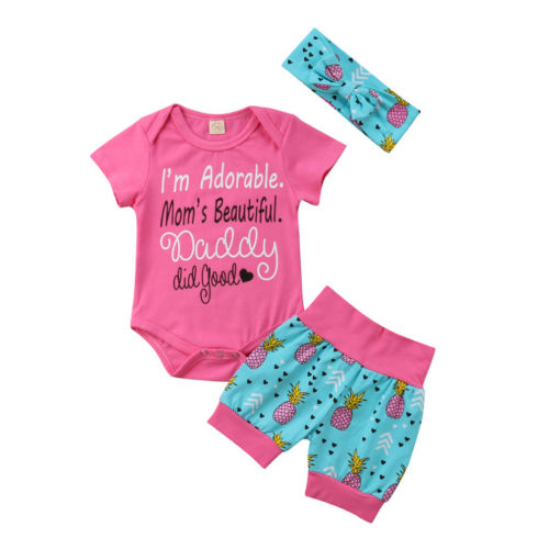 Lovely Kids Baby Girls Clothing Tops Bodysuits Shorts Headband Cotton Casual Outfits Clothes Baby Girl 0-18M