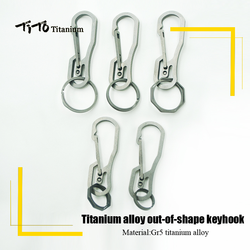 TiTo Titanium Alloy Out-of-shape EDC Keyhook Outdoors Keychain Hang Buckle Quickdraw Multi - Functional Key Ring Gift