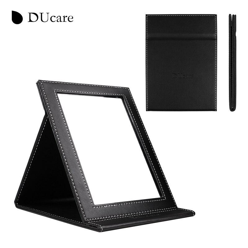DUcare 1 pc Nouvelle-Coréen de mode en cuir PU cosmétique miroir portable pliant utilitaire creative école de bureau miroir livraison gratuite