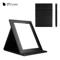 DUcare 1pc New Korean Fashion Leather PU Cosmetic Mirror Portable Folding Utility Creative School Desktop Mirror