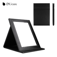 DUcare 1pc New Korean Fashion Leather PU Cosmetic Mirror Portable Folding Utility Creative School Desktop Mirror