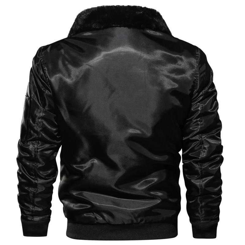 Image 5 - Men's Tactical Pilot Bomber Jacket Winter Autumn Warm Military Flight Jackets Fur Collar Army Motorcycle Parkas Fleece Coats Men-in Jackets from Men's Clothing