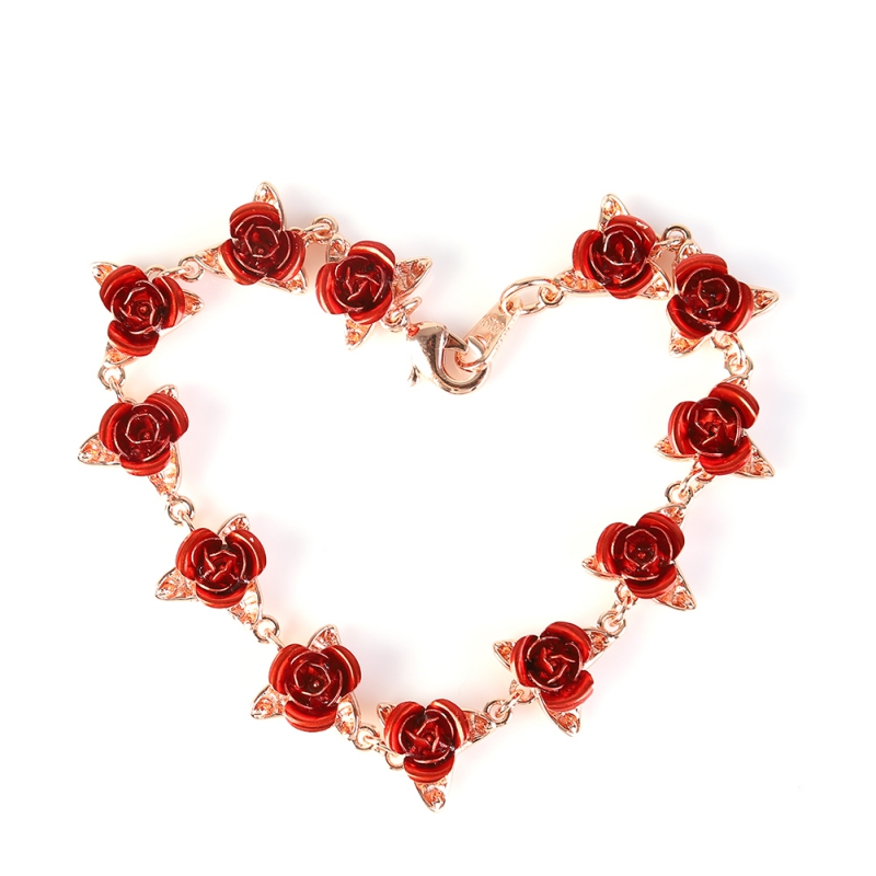 Beautiful Bracelet Red Rose Flowers Wrist Chain Charm Valentine 39 s Day Mother 39 s Gift For Women Wedding Party Gift New in Party Favors from Home amp Garden