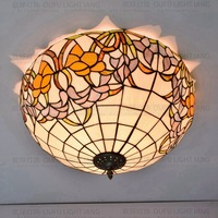 20Inch Flesh Country Flowers Tiffany ceiling light Stained Glass Lamp for Bedroom E27 110 240V