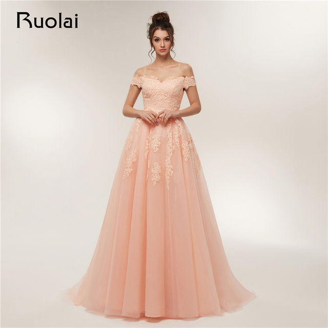 Gorgeous Prom Dress 2018 Off the Shoulder Ball Gown Evening Dresses Long Applique Beaded Prom Party Gown Robe de Soiree RE11