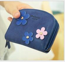 New Arrival 2017 women candy color nubuck leather cute flower zipper designer short mini wallet carteiras femininas monedero 45