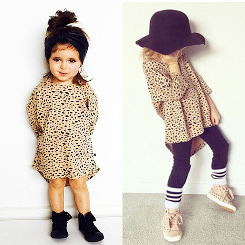Cute Baby Girls Dress 3/4 Sleeved Leopard Cotton Loose Dress for 0-5 Years Kids  Платье