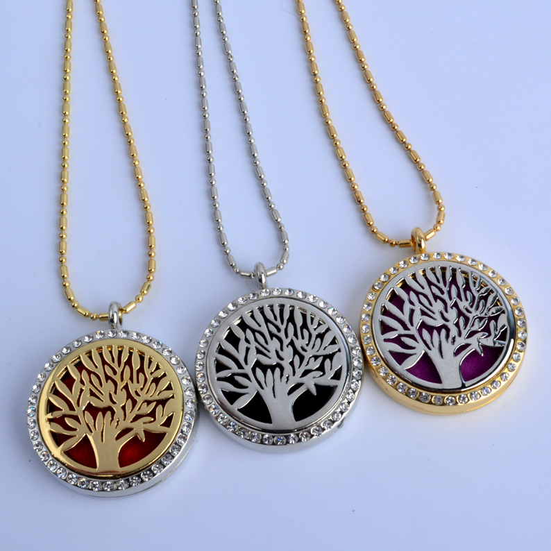 1Pc Round Tree Rhinestone Locket (30mm) Aromatherapy Perfume Diffuser Floating Locket Necklace For Gift