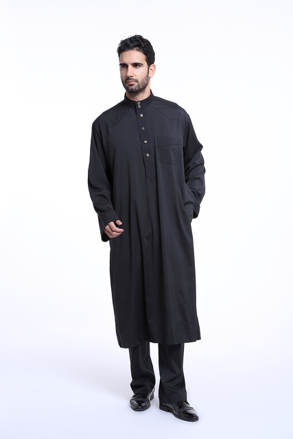 High quality Muslim Islamic Clothing for men Arabia Jubba Thobe plus size dubai Men's Kaftan Abaya clothing 2 pcs set 4 colors