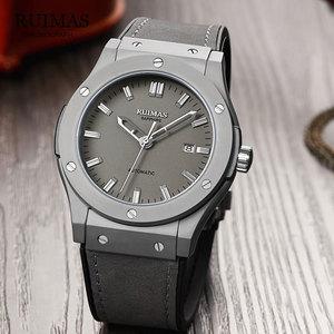 Image 4 - RUIMAS Reloj Mecánico Militar para hombre, reloj Masculino analógico con fecha, deportivo, reloj de pulsera con Correa de cuero