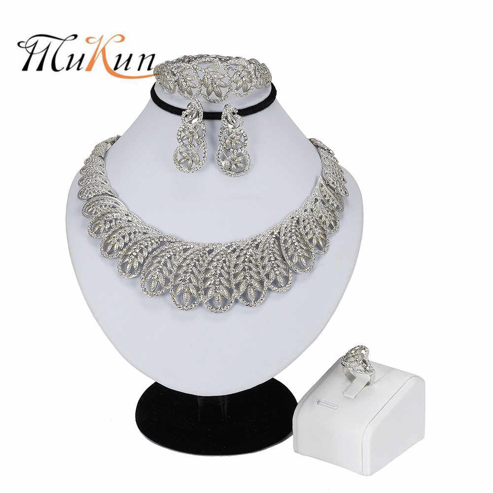 MUKUN New Handmade Dubai Silver Plated Jewelry Sets Fashion Nigerian Wedding African Beads Jewelry Sets Costume Dubai For Women