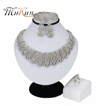 MUKUN New Handmade Dubai Silver Plated Jewelry Sets Fashion Nigerian Wedding African Beads Costume For Women