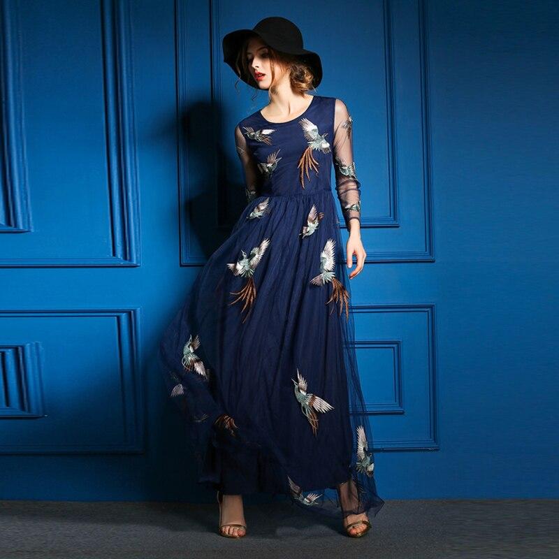2018 nouveauté haute qualité Phoenix Brid broderie étage-longueur à manches longues luxe élégant broderie robe robe complète