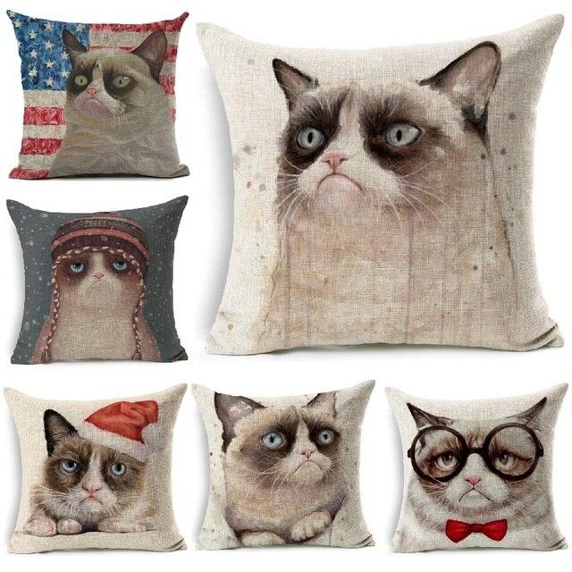 Copertura del cuscino Divertente Grumpy Cat Stampato Lino 45x45 cm Coperte e Pla
