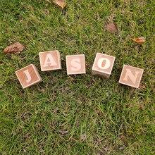 hot deal buy 1pcs baby name blocks wooden letter blocks baby shower gift newborn photo prop nursery decor alphabet blocks wood baby gift t