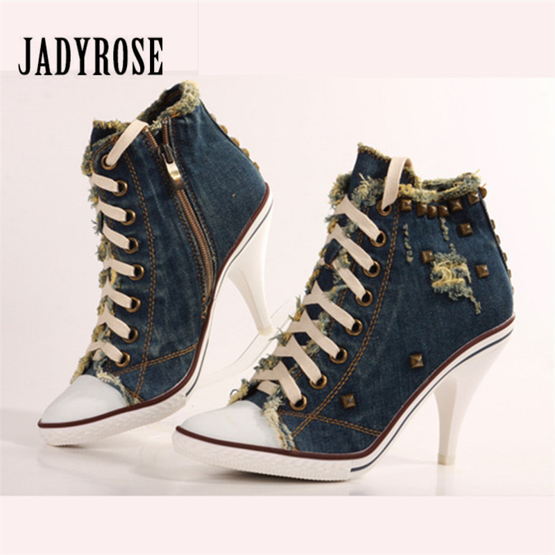 Jady Rose Women Ankle Boots High Heel Botas Mujer Women Platform Pumps Ladies Lace Up Denim Booties Rubber Shoes Woman Stiletto jady rose suede women ankle boots fringed lace up high heel shoes woman rivets studded platform pumps valentine shoes