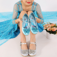Girl's Round Toe Mary Jane Leatherette Hight Heel Flower Girl Shoes With Imitation Satin Flower frozen Shoes 603 3