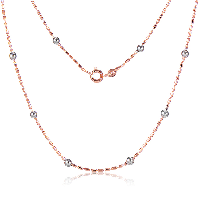 Wholesale Beads Thin Necklace For Womens Mens Rose Gold Plated