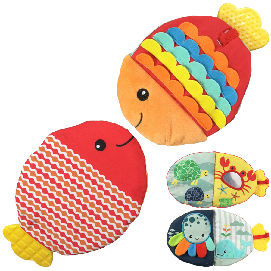 Animals Fish Soft Cloth Fun Book Baby Intelligence Development BB Sounds Learn Picture Cognize Quiet Book Rattle Baby Toy DS9