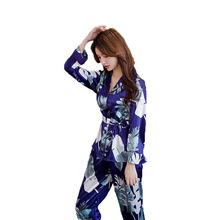 Мягкие женские пижамы из искусственного атласа, милый костюм с длинными рукавами из 2 предметов, домашняя одежда, Женская Повседневная Пижама
