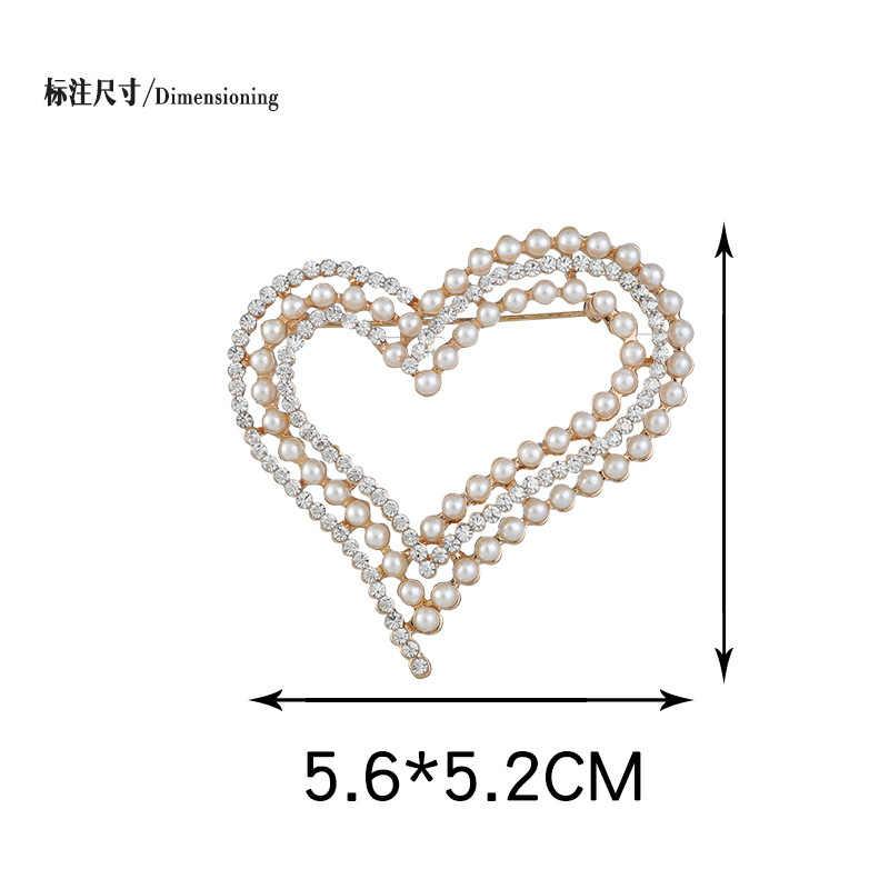 Elegant Pearl Heart รักเข็มกลัด Pins คริสตัล Rhinestone Pins หัวใจและเข็มกลัดสำหรับงานแต่งงานเจ้าสาวตกแต่งเครื่องประดับรัก