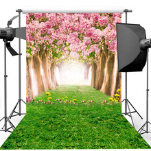 Neoback Spring Scenery Photography Backdrop Green Grass Path Background Newborn Baby Portrait Photo Backdrops