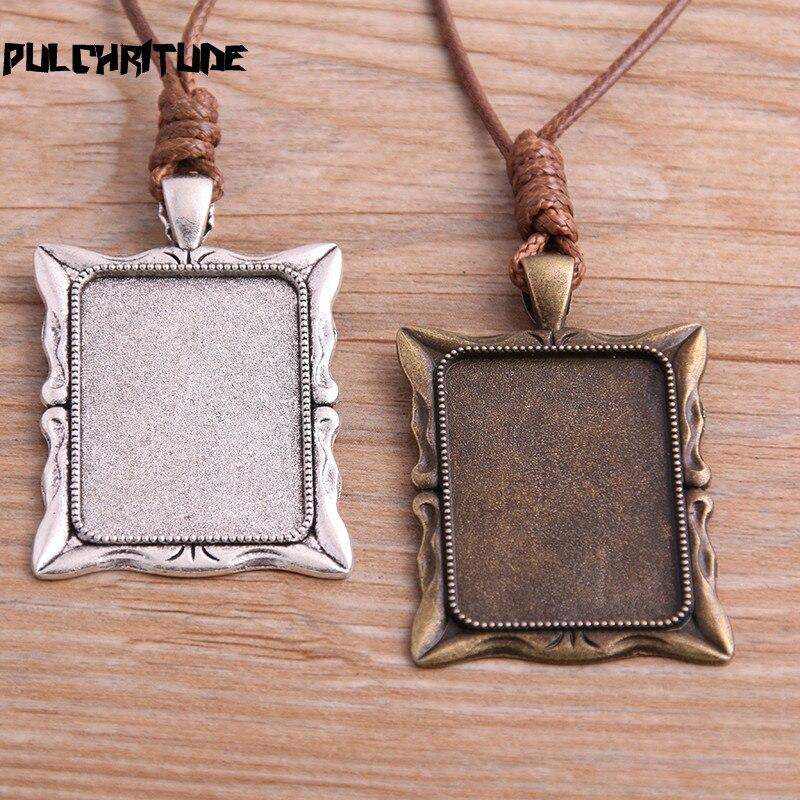 2 pièces en alliage de Zinc deux couleurs 23*33mm carré Cabochon paramètres camée blanc pendentif Base plateaux avec cordon en cuir pour la fabrication de bijoux
