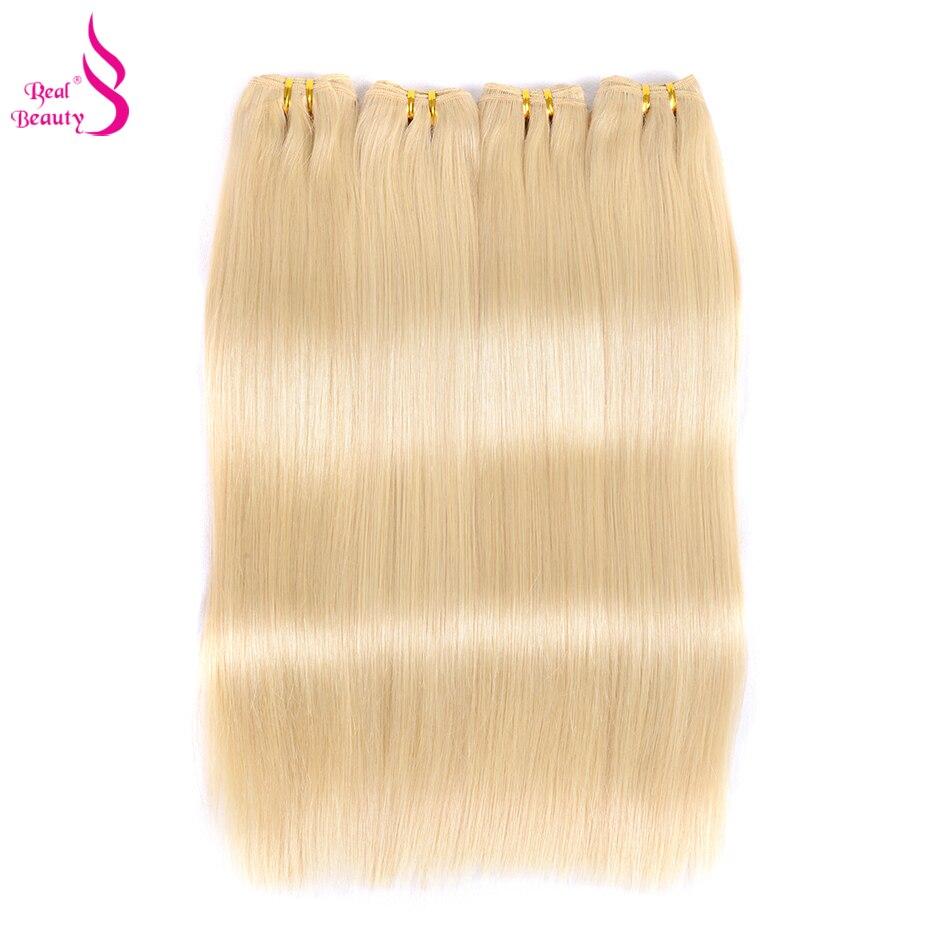 Brésilienne Cheveux Raides 3 Bundles 613 Platine Couleur Vraie Beauté Remy de Cheveux Humains Tisse Faisceaux Blond Extensions de Cheveux
